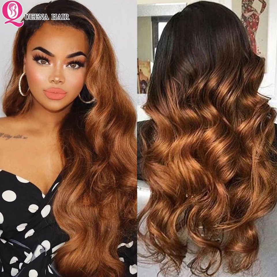 Ombre Human Hair Wigs Body Wave Lace Front Wig Human Hair Color Ombre Blonde Lace Front Wig 4x4 Closure Wig  Remy Brazilian Wig 1
