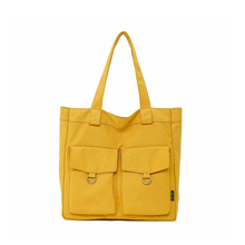 Fashion Girl Canvas Bag Literary Young Female Shoulder College Style Woman Simple Large Capacity Student Yellow