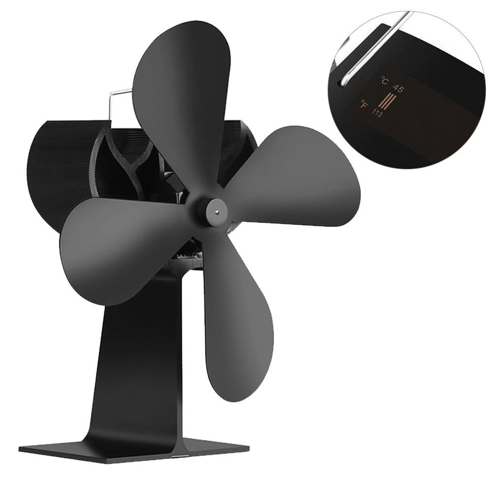 New Stove Fan Temperature Monitoring Thermodynamic Fireplace Fan Heat Powered Stove Fan Fireplace Durable Heat Furnace Fan