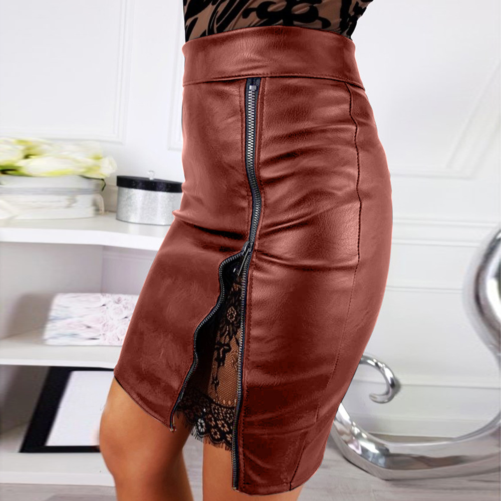 LASPERAL Women High Waist PU Leather Lace Stitching Package Hip Sash Zipper Pencil Mini Skirt Plain Black Short Skirt Streetwear