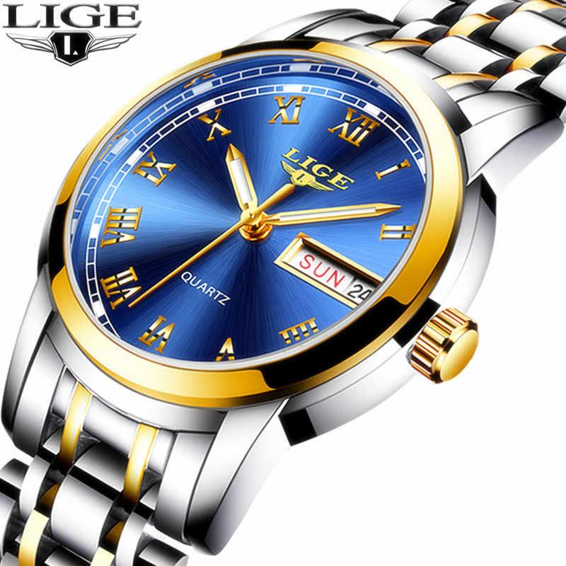 Luik 2020 Nieuwe Vrouw Horloges Topmerk Luxe Rose Alle Volledige Stalen Horloge Vrouw Quartz Waterdicht Horloge Dames Horloge Klok + Box