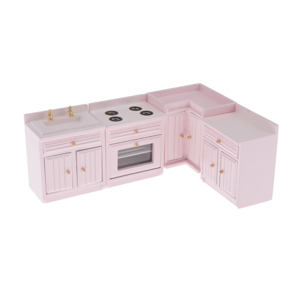 1/12 Dollhouse Kitchen Furniture Wooden Stove Sink Cabinet Cupboard Set