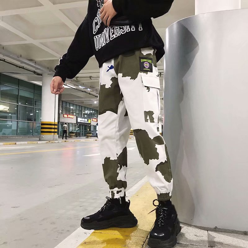 INS Super Fire Autumn Camouflage Bib Overall Men's Korean-style Fashion Loose Casual Sports Ankle Banded Pants Hiphop Pants