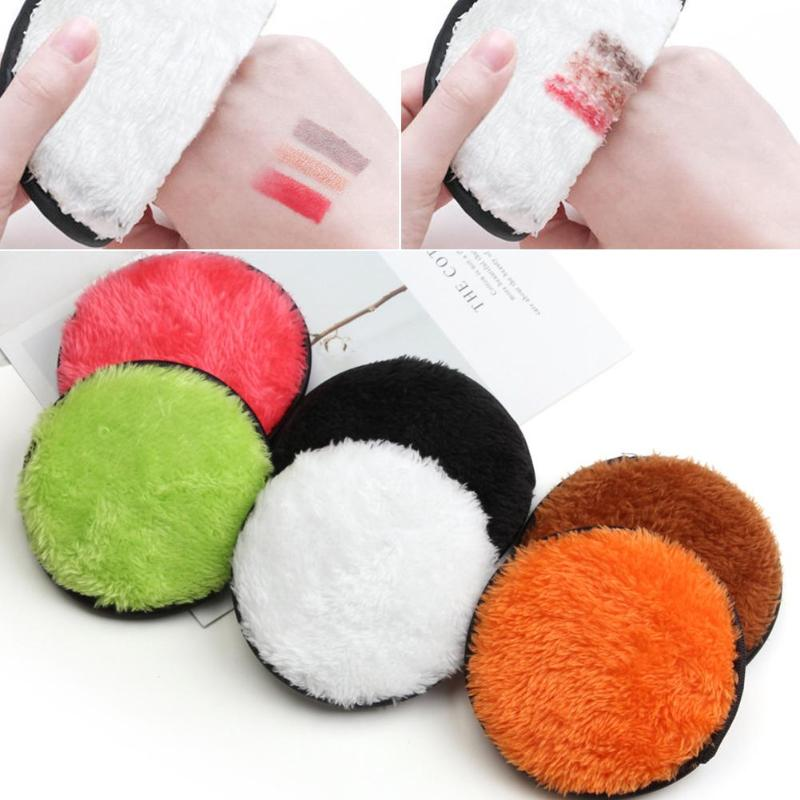 2pcs Soft Makeup Remover Powder Puff Face Cleansing Pads Cloth Plush Cosmetic Puff Mats Skin Care Beauty Make Up Tools(China)
