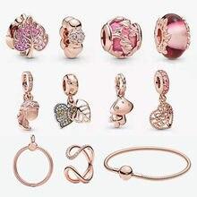 Gorąca sprzedaż prawdziwe 92 5 w kształcie serca liść klonu różowego złota seria Fit oryginalna bransoletka Pandora Making moda DIY biżuteria dla kobiet