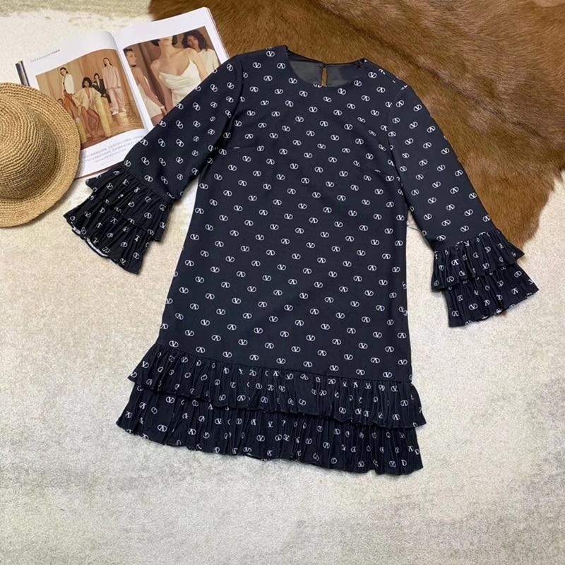 Mini vestido de verano para mujer elegante cuello redondo manga larga mariposa carta estampado vestido 2019 moda mujer nuevo vestido-in Vestidos from Ropa de mujer    1