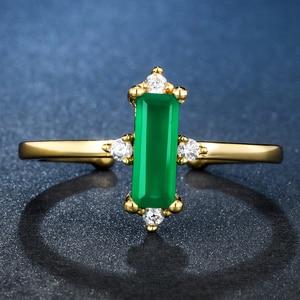 Image 2 - ALLNOEL anillo minimalista de piedras preciosas para mujer, Plata de Ley 925, Ágata verde, joyería de Cuarzo Rosa, Color amarillo dorado, diseño abierto