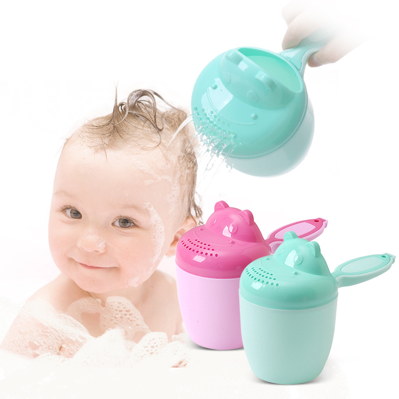 Baby Bath Cup Toddle Shampoo Cup Cartoon Hippo Children Bathing Bailer Baby Shower Spoons Child Washing Hair Cup Kids Bath Tool