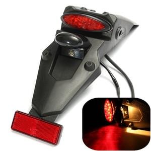 Motorcycle Black Dirt Bike Rear Fender LED Turn Signal Lights Stop Brake Tail Plate Light License Plate Holder