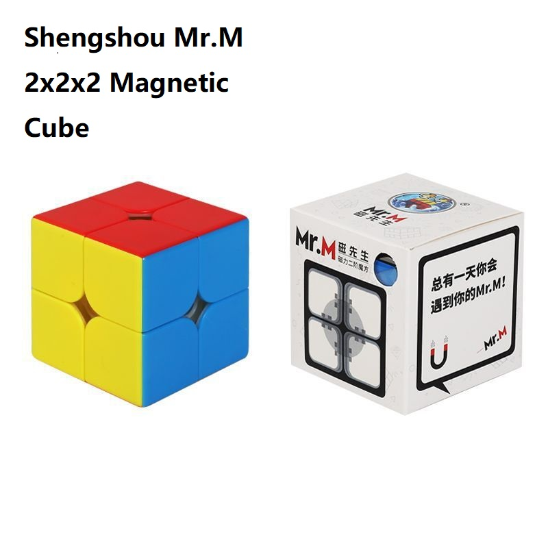 Shengshou Mr.M Magnetic Cube 2x2 Speed Cube Magic 2x2x2 Magnet Positioning Mrm 2 Cubo Magico 2*2 Magnets Cube Black Game Puzzle