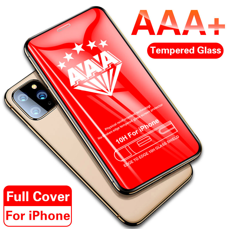 AAA+ Curved Full Cover Tempered Glass On For Iphone 11 PRO MAX Protective Glass For Iphone 11 X XR XS MAX Screen Protector Film
