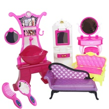 Doll House Accessories Coffe Table Diy Bjd Sofa Chair Set Girl Toys  Gift Plastic Furniture Sets Goods Dressing