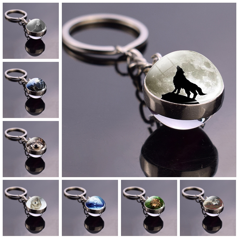 Full Moon Wolf Picture Keychain Glass Ball Keychain Men Women Jewelry Animal Wolf Key Chains Keyring Gifts For Men