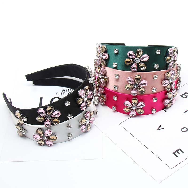 Xugar Rhinestone Crystal Flower Women Headband For Women Fashion Solid Color Bezel Wide Side Hairband Hair Accessories Headwrap