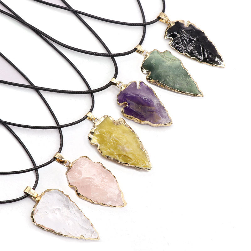 Europe and America Ornament Natural Agate Obsidian Colorful Crystal Raw Ore Arrowhead Pendant Necklace