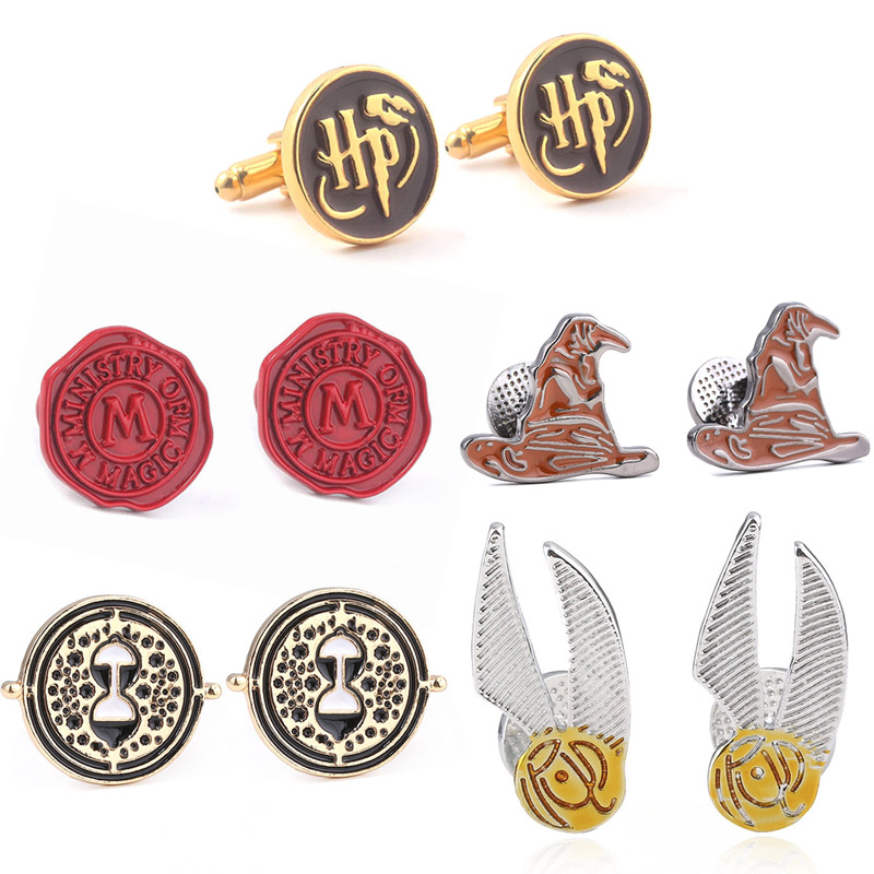RJ Movie HP Cufflinks Hogwarts School Time Turner Sorting Hat Golden M Logo Buttons Cuff Links Avengers Tie Clips Jewelry Gift