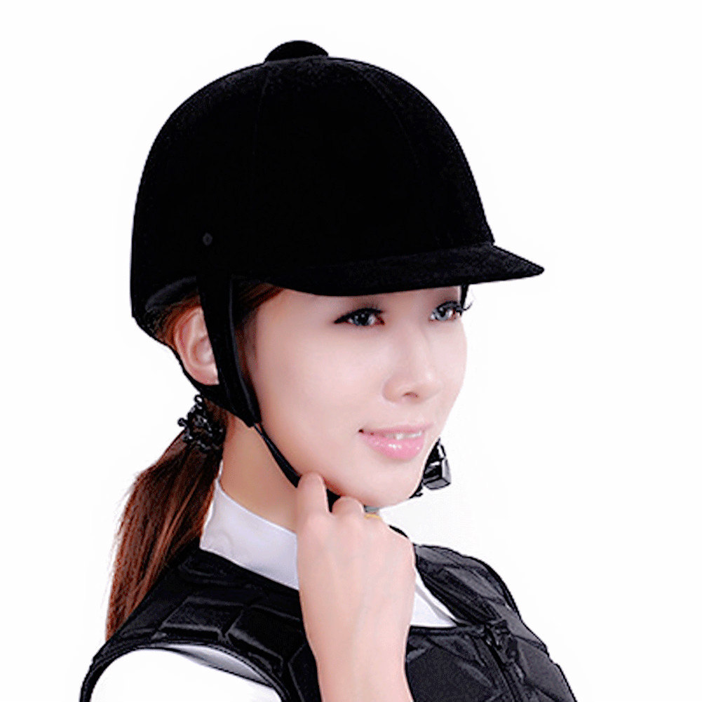 Unisex Horse Riding Helmet Equestrian Equipment Adjustable 54cm-62cm ABS Velvet Safety Headwear Protection Anti-collision Hat