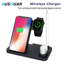 4 in 1 10W Fast Wireless Charger Dock StationFor iPhone XR Max 8  Fast Charging for Apple Watch 2 3 4 For AirPods apple pencil