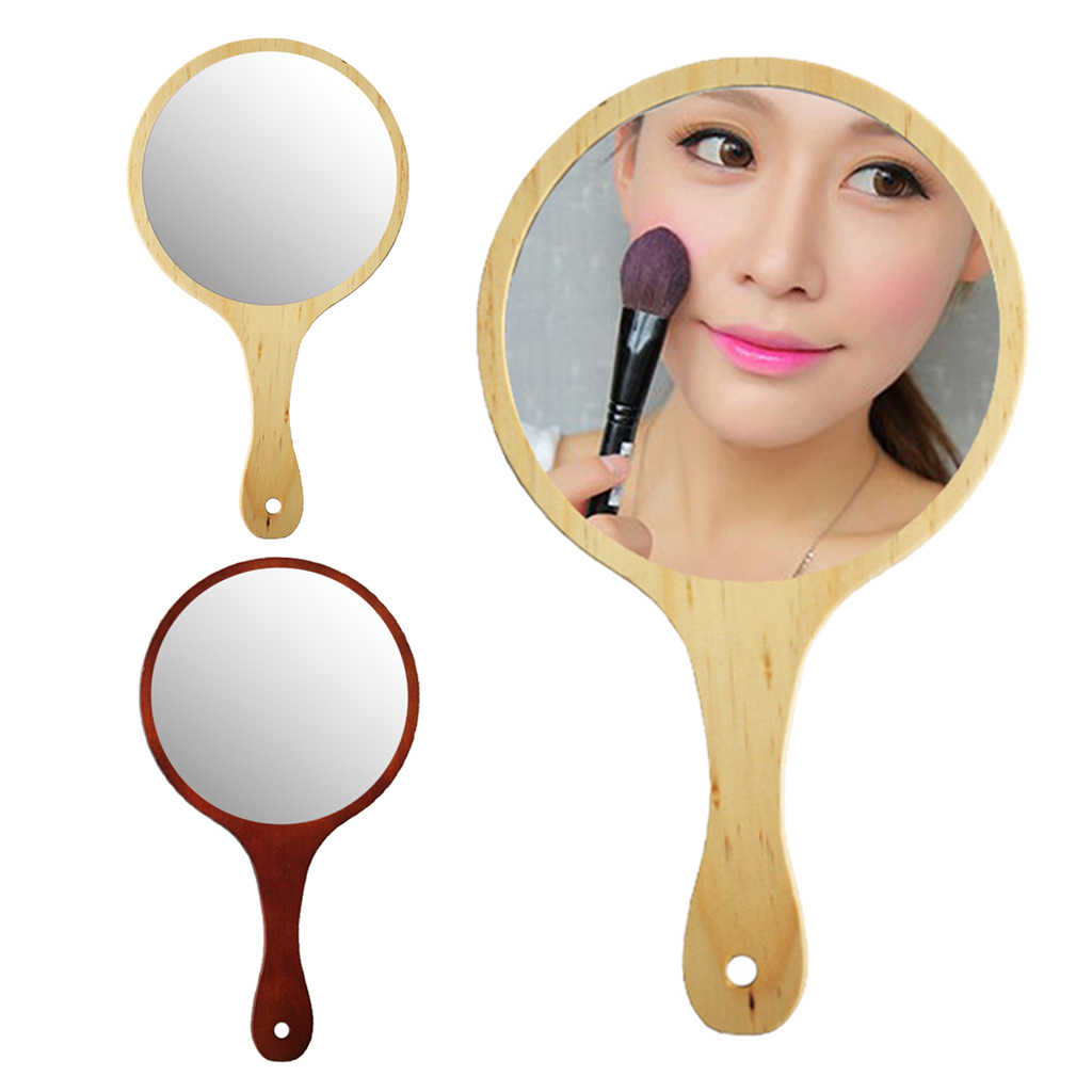 Durable Wooden Hand Held Mirror Compact Mirrors Women Girl Makeup Tattoo Beauty Tool For Salon Home Travel Hotel Use Aliexpress