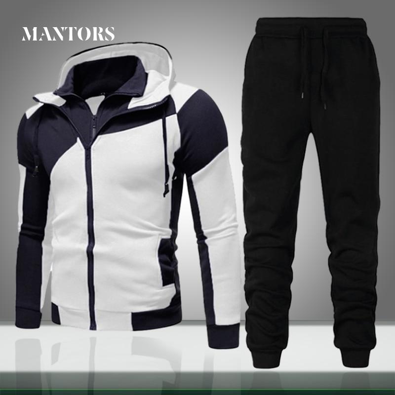 Мужской спортивный костюм на молнии, повседневный осенний комплект из двух предметов: куртки и брюк, спортивная одежда, брендовая одежда 2020