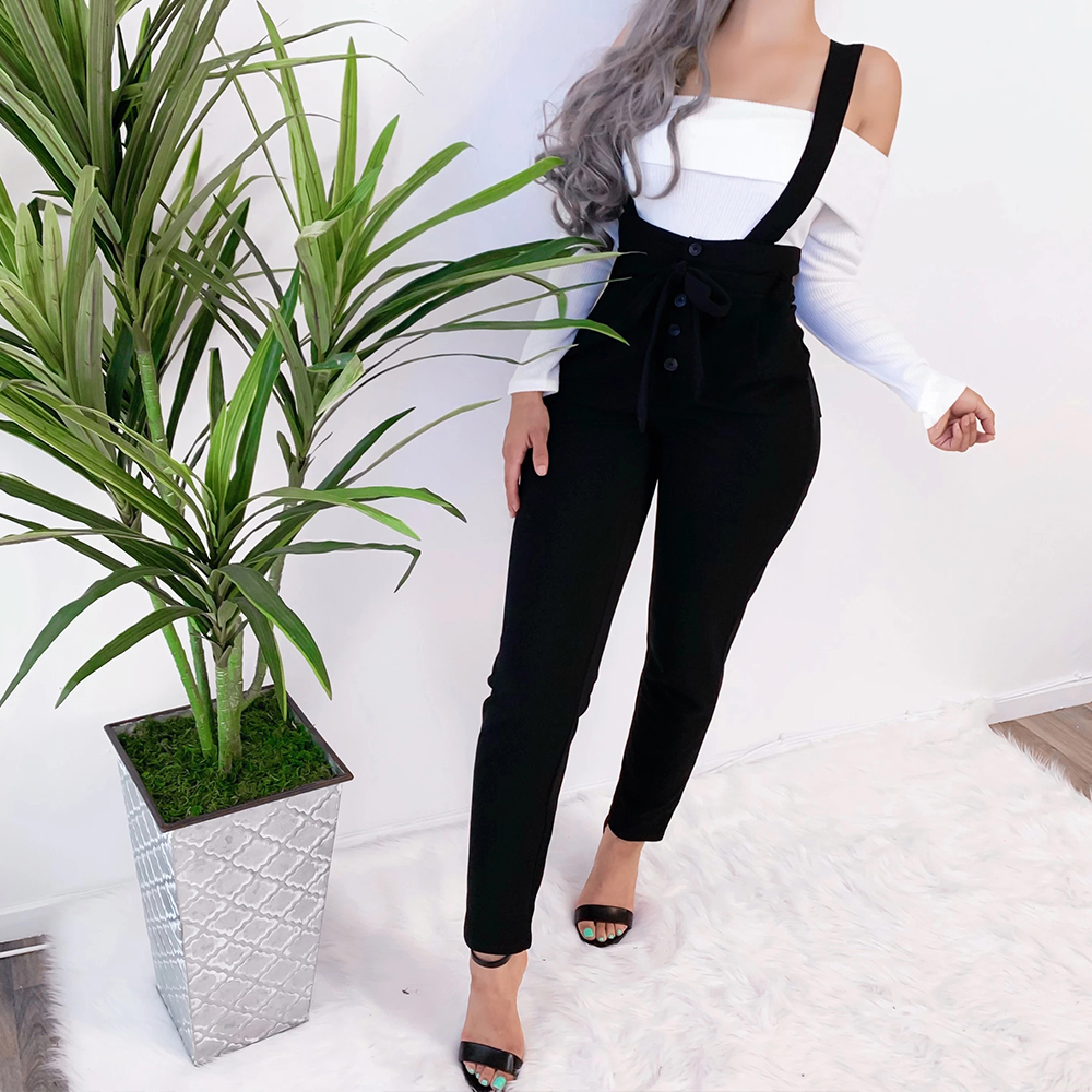 Solid  Color Women Dungarees High Waist Bib Pants Casual Ladies Skinny Jumpsuits Fashion Buttons Slim Full Length Overalls D30