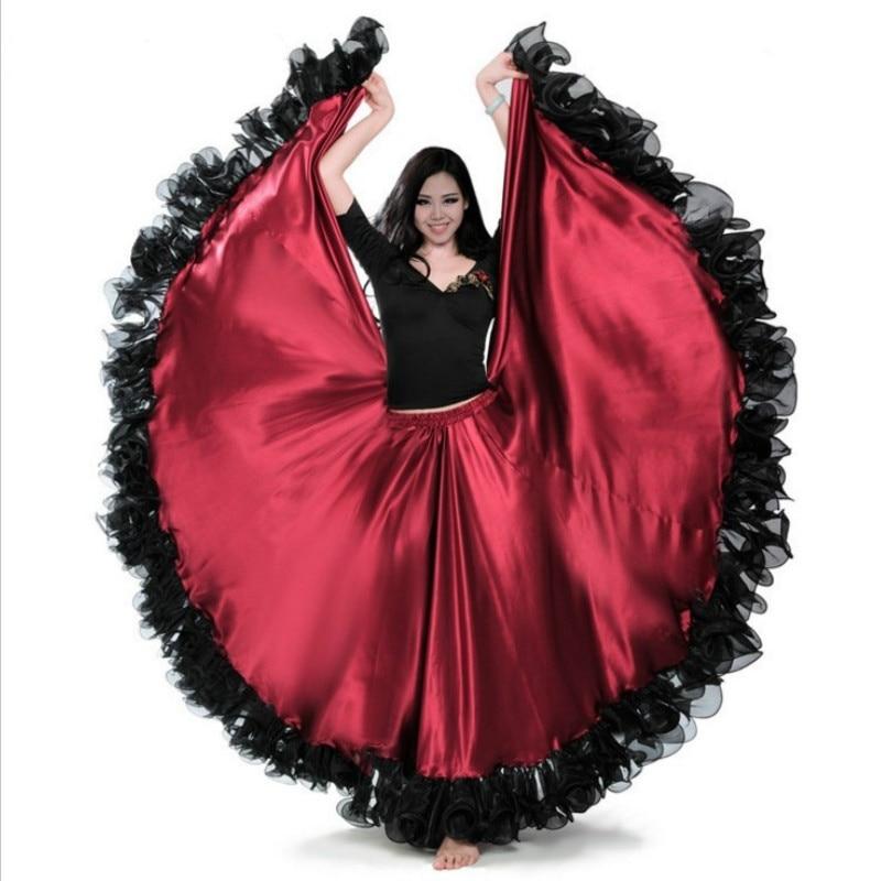 Women Spanish Flamenco Modern Dance Swing Skirt Satin Ruffle Elastic Waist Ballroom Costume 912-749