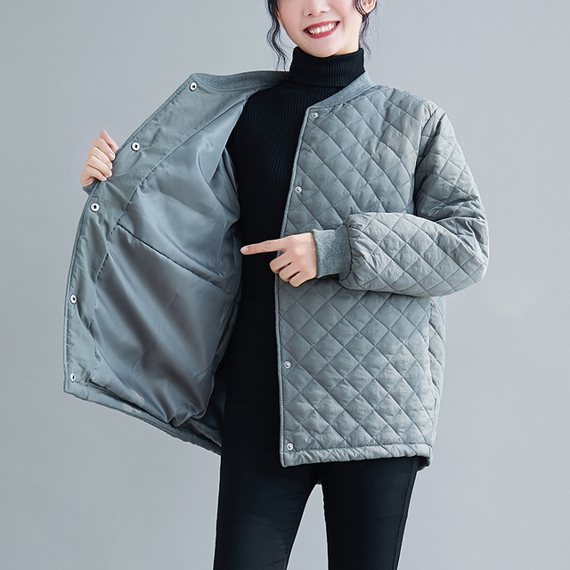 Aransue 2020 New Cotton Padded Coat Thickened Baseball Collar Jacket Short Design Outer Garment For Female Autumn Winter Top 6