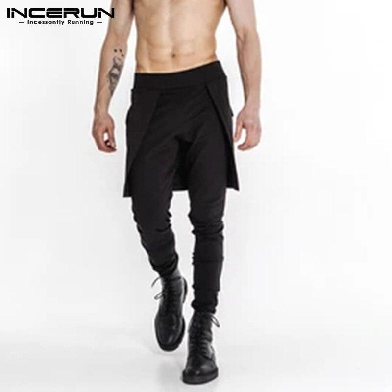 INCERUN Man Black Pantalones Fashion Pants Solid Color Trousers Pockets Pencil Joggers Mens Fitness Irregular Skirts Pants 5XL 7