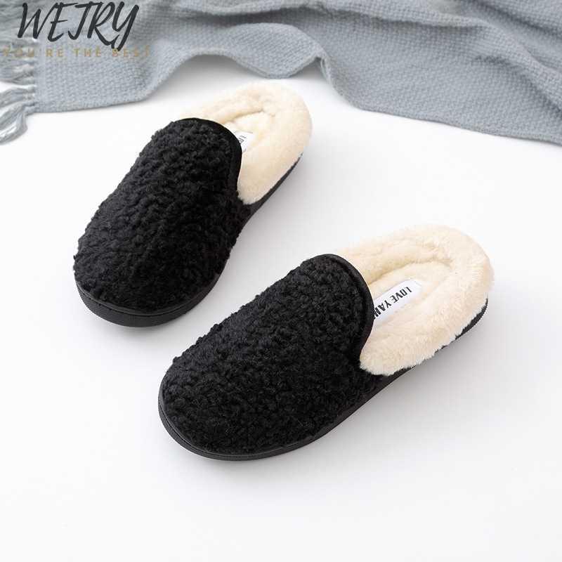 2019 zapatillas de invierno para mujer con piel sintética a la moda Zapatos de abrigo para mujer deslizantes planos femeninos negro Rosa Plus tamaño 41