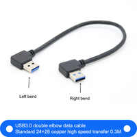 1pcs USB 3.0 Type A Male 90 Degree Left Angled to USB 3.0 A Type Right Angled Extension Cable