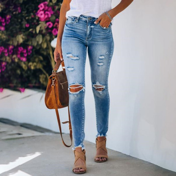 Sexy High Waist push up denim jeans Women Slim fit calca jeans ladies Ripped elastic skinny jeans Sexy Hole vintage Pencil jeans sexy hole boyfriend jeans women high waist elastic ripped mom jeans streetwear slim denim pencil pants ladies skinny trouser