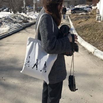 Ladies Handbags Canvas Tote Bag Cotton Cloth Shoulder Shopper Bags for Women 2020 Eco Foldable Reusable Shopping Bags Grocery 3