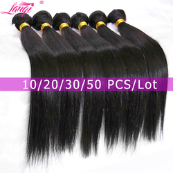 Lanqi светильник Yaki человеческие волосы пучки предложения кудрявые прямые волосы 1/4 пряди не-remy волосы для наращивания бразильские волосы пле...