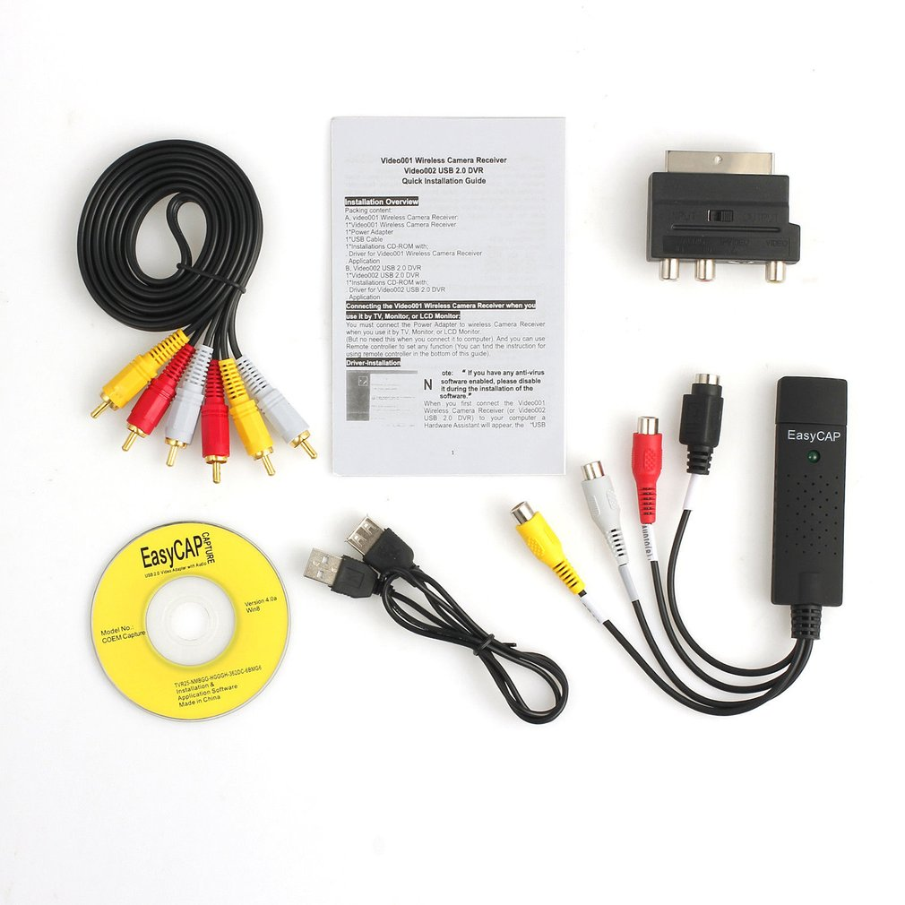 Professional USB2.0 VHS To DVD Converter Audio Video Capture Kit Scart RCA Cable Kit Set Suitable For Win 10