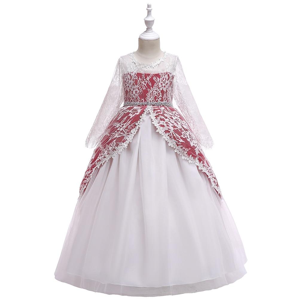Lace Half-sleeve Shirt Diamond Set GIRL'S Gown Princess Dress Flower Boys/Flower Girls Long Performance Host Tutu