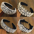 2021 Luxury Silver Baroque Padded Rhinestone Headband for Women Full Crystal Diamond Wide Thick Hairband Hair Hoop Girls Gift