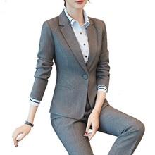 Новые женские деловые костюмы, Женские топы и блузки, офисные женские облегающие блейзеры и штаны, Большие Черные Серые Рабочие костюмы, женский костюм