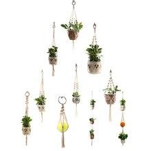 Лидер продаж ручная работа Подвеска для растений из макраме цветок/горшок вешалка для украшения стен countyard сад