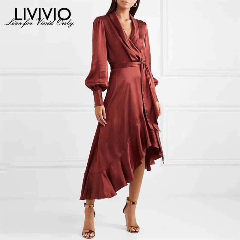 [LIVIVIO] Satin Dress Female Lantern Long Sleeve With Belt Lace Up Asymmetrical Ruffle Hem Black Midi Dresses Women Autumn 2019