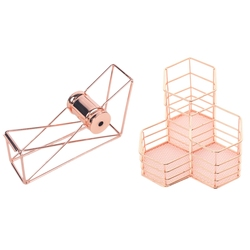 Stationery Metal Tape Holder Tape Cutter & Pen Cup Holder for Desk Tidy Hexagon Iron Hollow Makeup Brush Organizer Stationery St