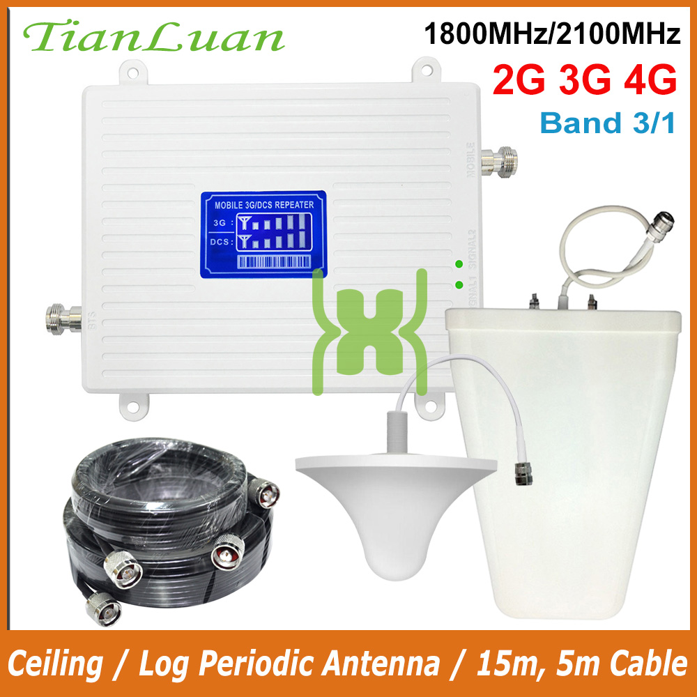 TianLuan 3G 4G 1800MHz 2100MHz Cell Phone Signal Booster DCS Band 3 LTE 1800 WCDMA Band 1 2100 Mobile Signal Repeater Amplifier