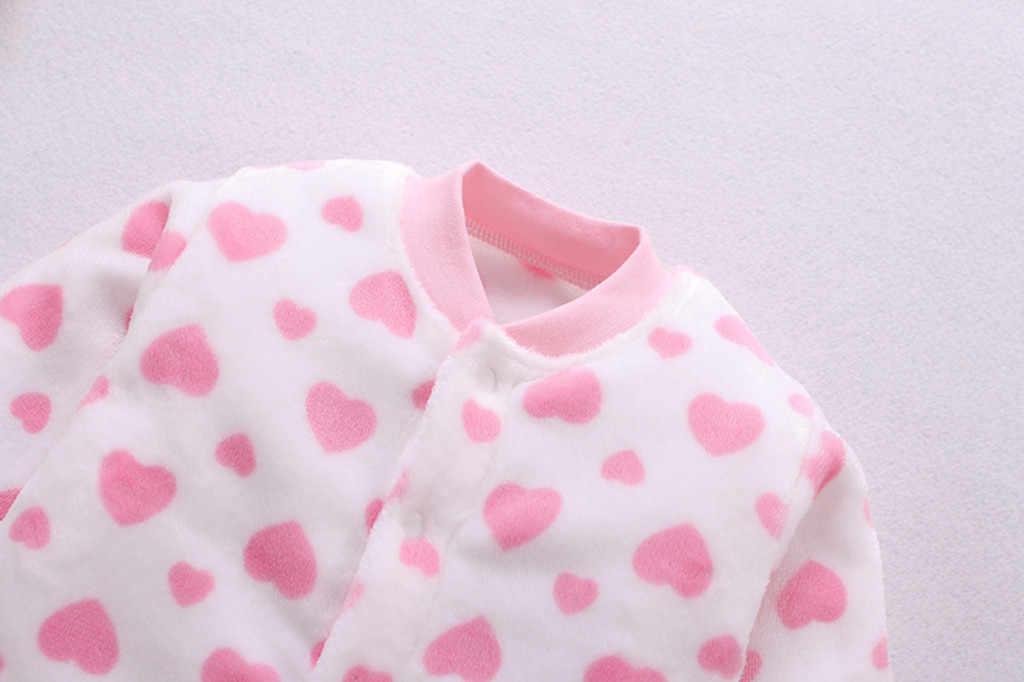 Yenidoğan Romper kış sıcak giysiler bebek kız polar kalın o-boyun çizgili Romper uzun kollu tulum kıyafet ceket elbise