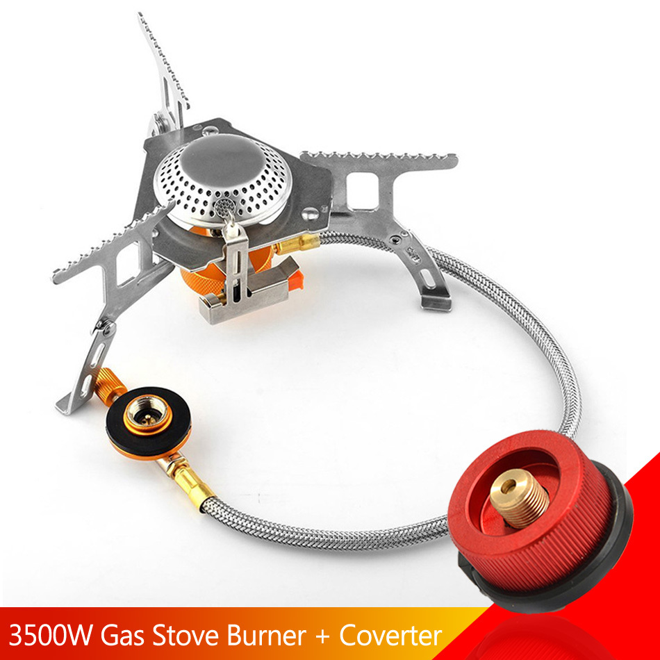 Gas Burner 3500w Camping Stove Split Portable Butane Ignition Cooker Tourist Outdoor Cooking Gas Adapter Adaptor Conversion