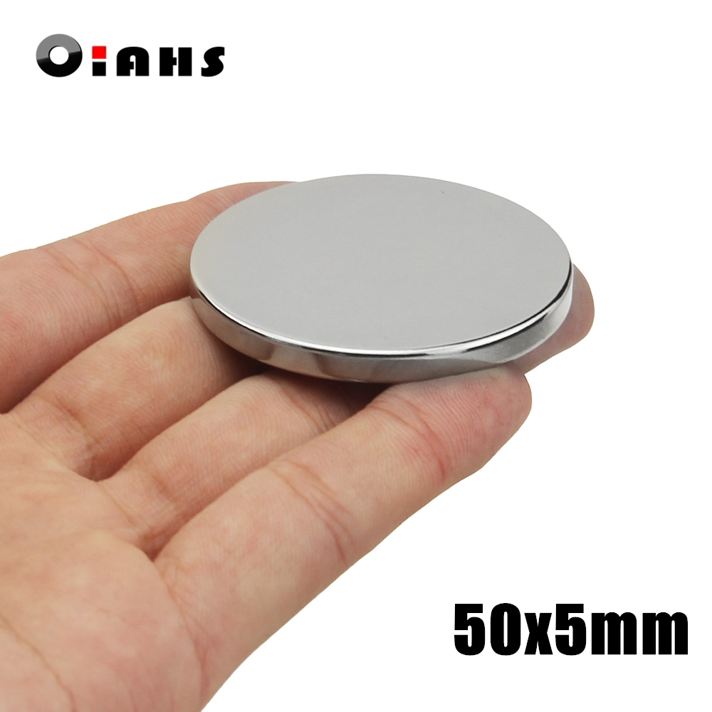 1pcs 50x5mm Super Powerful Strong Bulk Small Round NdFeB Neodymium Disc <font><b>Magnets</b></font> Dia <font><b>50mm</b></font> x 5mm N35 Rare Earth NdFeB <font><b>Magnet</b></font> image