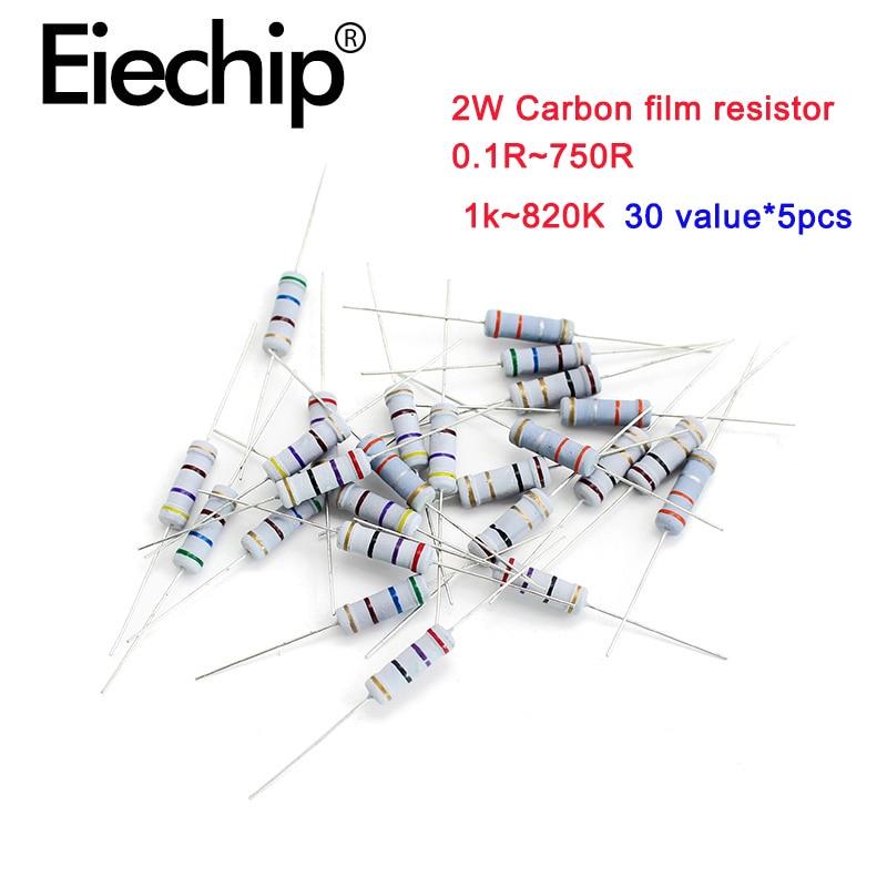 150 шт./лот 2 Вт Металлические пленочные резисторы 1% 1k ~ 820K, резистор из углеродистой пленки 5% 0.1R-750R, набор сопротивления проволочной обмотки 30 ...