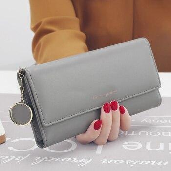 aliwood New Fashion Women Wallets Brand Letter Long Tri-fold Wallet Purse Fresh Leather Female Clutch Card Holder Cartera Mujer 11