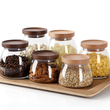 Large/Small Glass Food Storage Container/Canisters with Airtight Wooden Lid for Preserving Kitchen Tea Coffee Sugar Storage Jars coffee bean tea glass bottle storage tank storage jars food container storage glass jars with lid container jars for spices