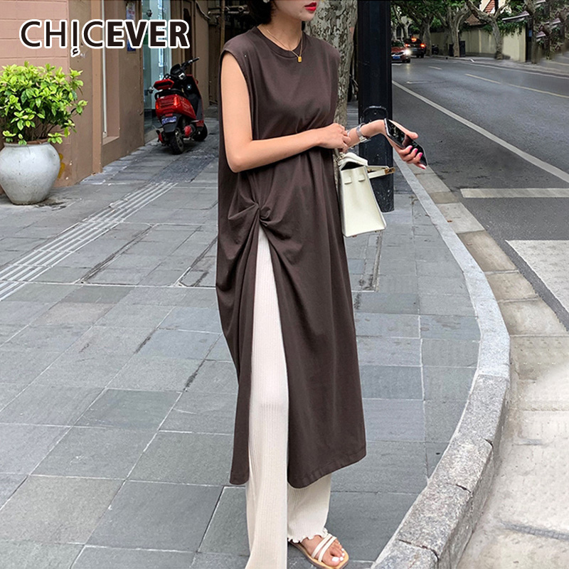 CHICEVER Casual Ruched Women's T-shirt O Neck Sleeveless Side Split Loose Long T-shirts Female 2019 Summer Fashion New Clothes