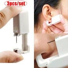 3 pc/set orelha indolor descartável piercing ferramenta de punção estéril sem inflamação para brincos clipes nariz orelha piercing gun