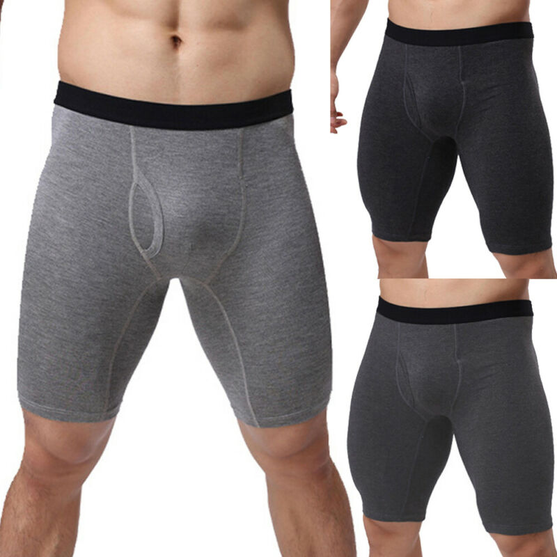 Brand New Men Plain Breathable Long Leg Male Boxer Shorts Solid Color Sexy New Mid-waist Underwear Hot Cotton Man Boxers Shorts